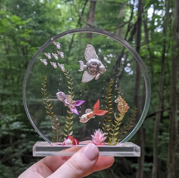 Lucite fish artwork